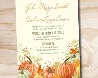Watercolor Fall Glitter Confetti Pumpkin Leaves Fall Wedding Invitation and Response Card Invitation Suite