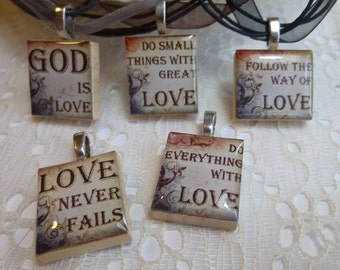 God Is Love Christian Phrases Scrabble Tile Necklace Pendant