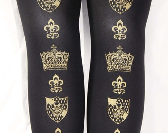 L Crown Printed Tights Large Gold on Black Semi Opaque 60 D Medieval Fleur De Lys Gothic Lolita Hime Gyaru Dolly Kei Otome