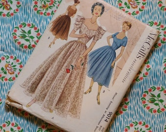 Vintage 1950s Sewing Pattern / Beautiful Full Skirt Evening Dress with Sweetheart Neckline / McCall's 9014 / UNCUT / 30 Bust