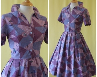 Delightful 1950s Day Dress / 50s Shirtwaister Dress / Novelty Chinese Urns Plates and Characters Print / S Small
