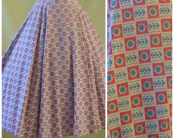 1950s Circle Skirt / 50s Summer Skirt / Full Circle / by St. Michael / Check and Floral Print / S Small M Medium
