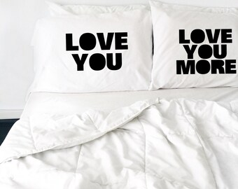 Wedding Gift Love You Love You More Pillow Set Couples Pillow Love The Beatles Pillows His and Hers Pillows Mr Mrs Gift