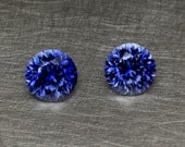 Blue Sapphire Loose Matched Pair For Earrings Round Brilliant Lab Created Gem Stone Set