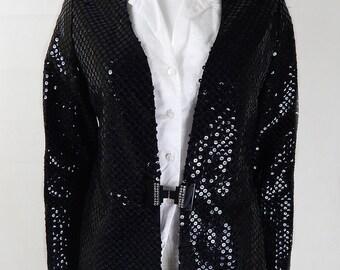 Original Vintage 1980s Black Sequin Relaxed Jacket/Blazer UK Size 10/12