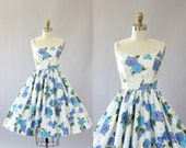 Vintage 50s Dress/ 1950s Cotton Dress/ Turquoise & Purple Floral and Butterfly Print Cotton Spaghetti Strap Dress XXS
