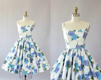 Vintage 50s Dress/ 1950s Cotton Dress/ Turquoise & Purple Floral and Butterfly Print Cotton Spaghetti Strap Dress XXS