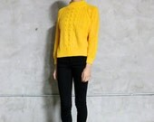 sweater, knit, vintage sweater, 80's mustard yellow chunky cable knit sweater, mock neck, medium, minimal basic preppy, medium M