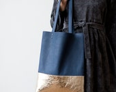 Gold Dipped Leather Tote bag