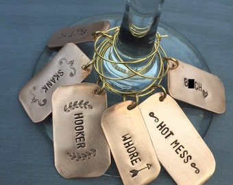 6 Hand Stamped Girls Night Wine Charms UNCENSORED / unique hostess gift / bridesmaid gift / ADULT / bridal shower gift