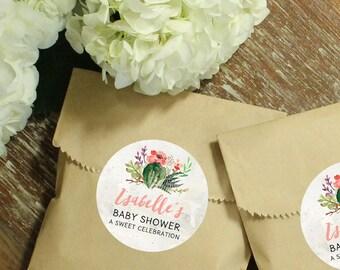 24 Paper Favor Bags - Cactus Flower Label | Wedding Favor Bags | Bridal Shower Favor Bags | Kraft Favor Bags | Baby Shower Favor Bags