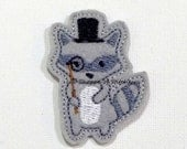 Hip Raccoon Feltie -Raccoon Felt Applique - Raccoon Embroidered Felt Applique -Raccoon Applique- Gray-UNCUT (Set of 4)