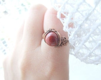 Red Coral Ring - Delicate Wire Wrapped Copper Autumn Rustic Ring