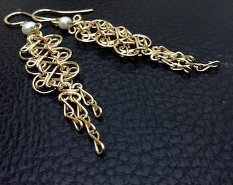 14k gold filled white pearls earrings, mesh earrings, handcrafted filigree earrings,long, dangle, yellow, indian, marrocan, arabesque, gypsy