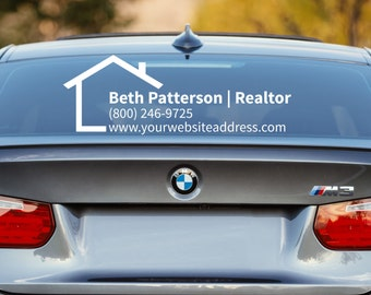 Realtor Decal, Realtor Car Decal, Real Estate Decal, Advertising, Promotion, Business Car Decal, Car Window Decal, Business Decal, Car Decal