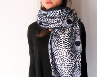 Navy blue scarf - polka dot African wax print woman fleece shawl
