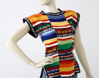 1970s hippie sweater, vintage boho knit top