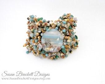 Beach Escape Beaded Bracelet, Ocean Cabochon Bohemian Jewelry Style, Boho Chic Bracelets Beachcomber Blue Turquoise Shells Woven Glass Beads