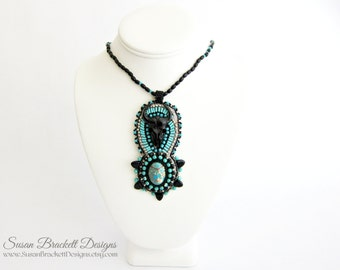 Beaded Bison Pendant, Turquoise Jewelry, Native American Buffalo, Southwestern Jewelry, Western Necklace, Boho Chic Fashion Statement Piece