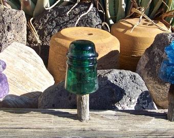 Vintage Insulator Brookfield No 11 New York Green Glass Insulator Made In USA 1920s