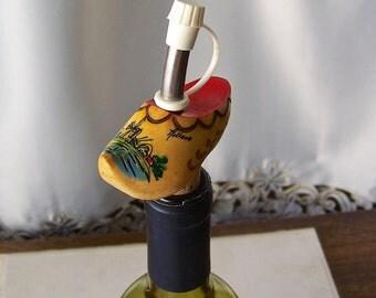 Vintage Bottle Stopper Pour Spout Holland Wood Shoe Hand Painted Souvenir Liquor Bottle Pour Spout Bottle Stopper Barware Man Cave 1980s