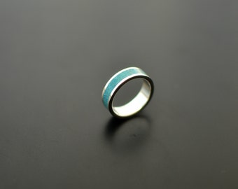 Sterling Silver Ring, Turquoise Wedding Band, Stone Inlay, Contemporary, Modern