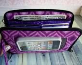 cell phone wristlet wallet, cell phone wallet, iphone 6s, zip around organizer wallet, wristlet, Super Mega Touch Screen Wallet, purple ikat