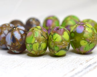 SRA handmade lime green, purple and lavender with pure silver set of (10) matte finished Lampwork Beads 20616-10