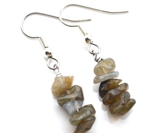 Labradorite Gemstone Stacks . Earrings
