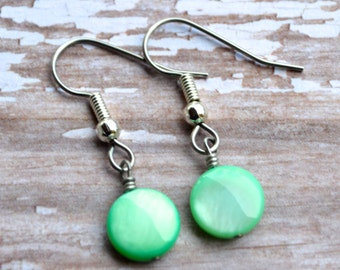 Mint Green Mother of Pearl Rounds . Earrings