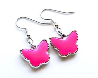 Hot Pink Butterflies . Earrings