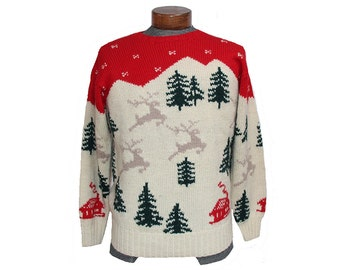 Vintage Reindeer Christmas Sweater Handknit Wool Pullover Size Medium