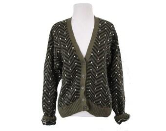 Womens Slouchy Cardigan Chevron Print Button Sweater Size