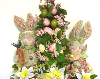 "SALE Spring Arrangement Floral Centerpiece Bunny & Easter Tree Large Gorgeous!! 19""x16"" Custom Designed"