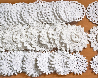 48 Small White Crochet Doilies, 2.5 inch Flower Doilies, Rosette Doilies for Crafts, Dream Catchers, Weddings, and More