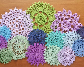 15 Green, Blue, and Purple Hand Dyed Vintage Doilies, Handmade Small Craft Doilies