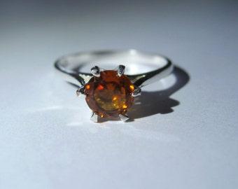 Natural Burnt Orange Spessartite Garnet In Sterling Silver Ring, 0.94ct.  Size 7