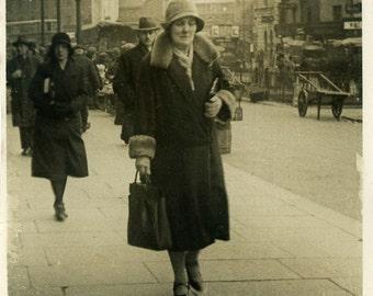 "Vintage Photo ""Saddened Shopper"" Walking Street Snapshot Antique Photo Old Black & White Photograph Found Paper Ephemera Vernacular - 124"