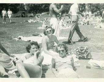 "Vintage Photo ""Summer Day at the City Park"" Swimsuit Snapshot Antique Photo Black & White Photograph Found Paper Ephemera Vernacular - 188"