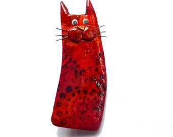 Red Cat brooch named ANIKA, fire red cat with mustache, fun gift for cat lovers, animal brooch, polymer clay cat brooch, cat pin cat jewelry