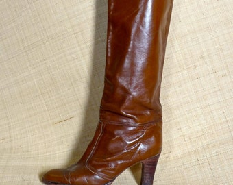 Fab Bohemian Chestnut Brown Stacked Heel 1970s Tall Boots - Febo Argentina Italy