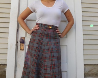 Vintage Plaid Wool High Waisted A-Line Skirt With Matching Belt Size XXS
