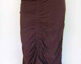Gathered Burlesque Skirt - Brown - gypsy, pirate, steampunk, festival clothing