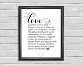Printable Wall Decor, Inspirational Quote, Love is Patient, Love is Kind, Digital Home Decor, Valentines Day Gift, Wedding Gift