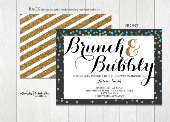 Brunch and Bubbly Bridal Shower Invitation, Wedding Shower Invite, Gold Invitation