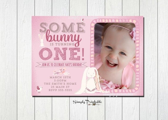 Bunny Birthday Invitation, 1st Birthday Invite, Easter Theme Invite, Pink Bunny Rabbit