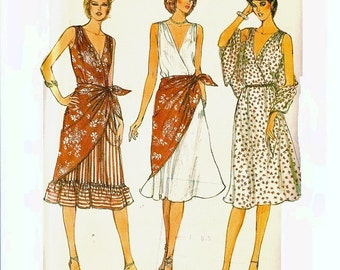 1980s Deep V Neckline Dress Pattern and Wrap Flared Skirt Sleeveless Bust 34 Size 12 Vogue 8003 Vintage Sewing Pattern