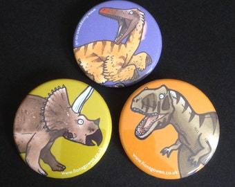 Dinosaur Badges - T Rex, Triceratops and Velociraptor - 38mm diameter