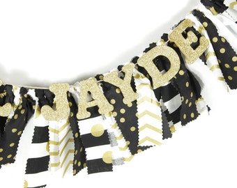 Black and Gold Nursery Decor - Maternity Photo Prop - Name Banner - Birthday Banner - Garland - Photoshoot Prop