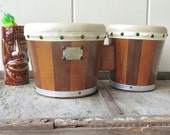 RESERVED - Vintage Wood Bongo Drums Zim Gar Musical Instruments Bohemian Percussion Beatnik Skins
